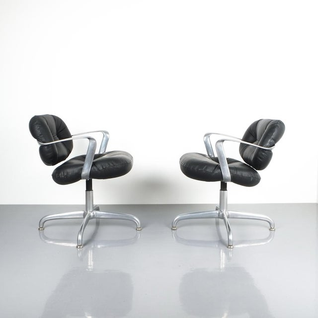 Pair Morrison and Hannah Knoll Office Chair Aluminum Black Leather, 1975 For Sale - Image 9 of 9