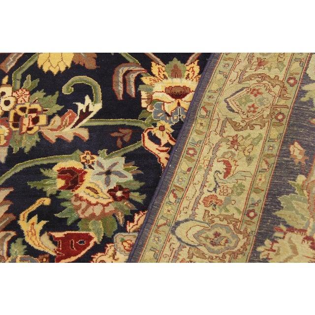 Textile Art Nouveau 1980's Anarkali Pak-Persian Steven Blue/Ivory Wool Rug - 4'1 X 6'1 For Sale - Image 7 of 8