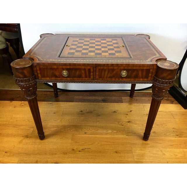Maitland-Smith Carved Mahogany Game Table With Leather Top For Sale - Image 13 of 13