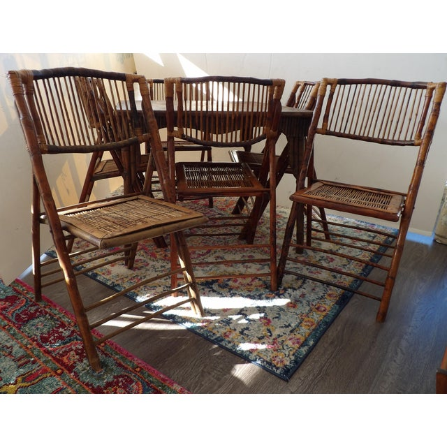 Arts & Crafts Florida Rattan and Bamboo Folding Game Table With Six Folding Chairs - 7 Pieces For Sale - Image 3 of 9