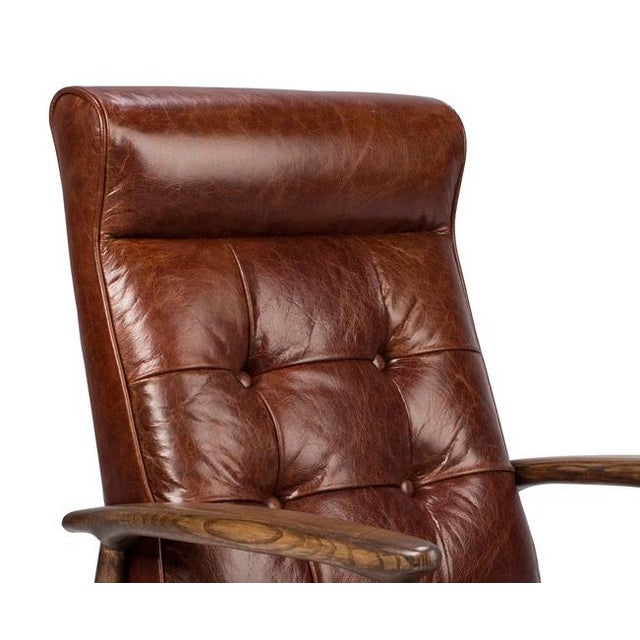 Brown Tufted Leather Club Chair - Image 4 of 4
