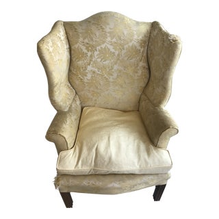 1970s English Traditional Berkeley Upholstery for Woodward and Lothrup Wingback Chair For Sale