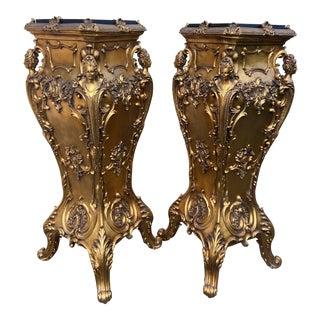 Italian Baroque Columns/Pedestals in Gold - a Pair For Sale