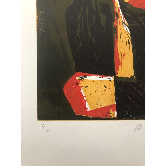 Mid-Century Modern Rooster European Woodcut 1950s For Sale - Image 4 of 8