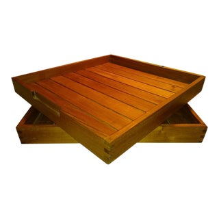 1970s Danish Modern Teak Tongue and Groove Trays - a Pair For Sale