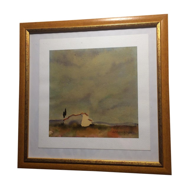 Tuscan Landscape Framed Watercolor - Image 1 of 4
