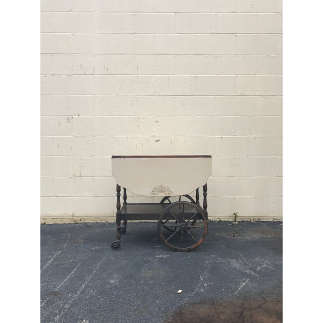 Brown 20th Century English Traditional Tea Cart With Collapsible Sides For Sale - Image 8 of 9