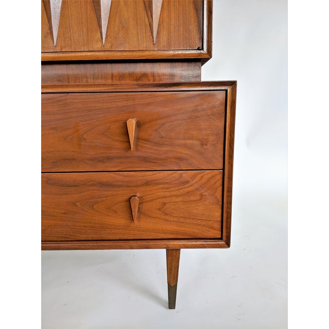 Wood Albert Parvin Sculptural Diamond Front Highboy Dresser For Sale - Image 7 of 9