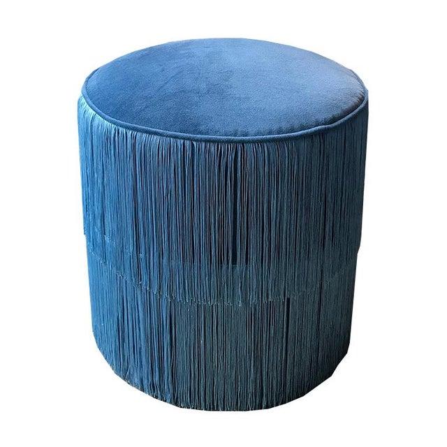 Art Deco Blue Velvet Ottomans Stools With Blue Fringe Surrounding For Sale - Image 3 of 6