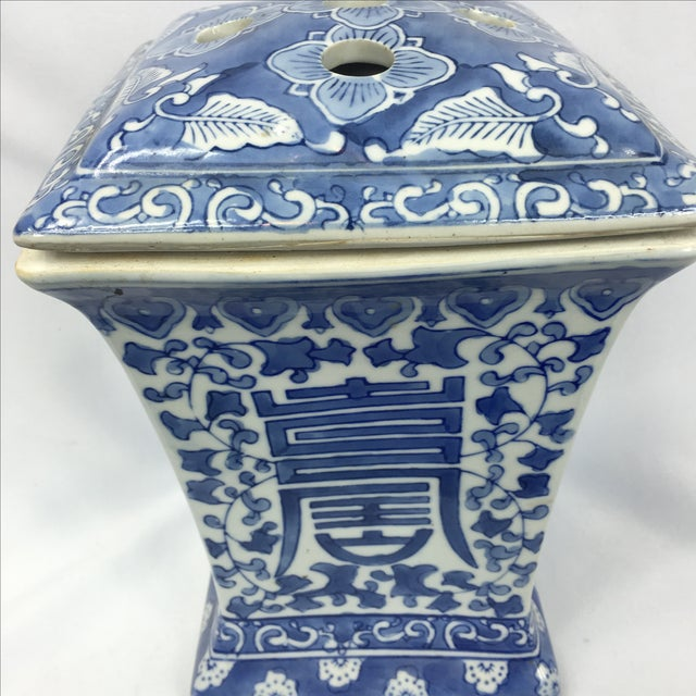 Blue & White Square Chinoiserie Floral Jar - Image 4 of 7