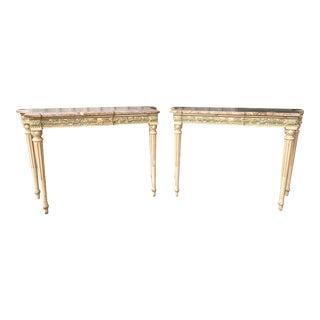 Maison Jansen Painted Marble-Top Console Tables - a Pair For Sale