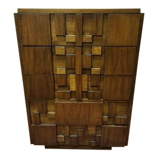 1960's Mid Century Modern Paul Evans Inspired Brutalist Mosaic Highboy For Sale