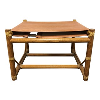 McGuire Oak & Leather Bench