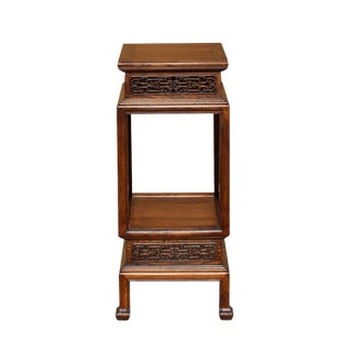 Chinese Brown Huali Rosewood Square Carving Plant Stand Pedestal Table For Sale