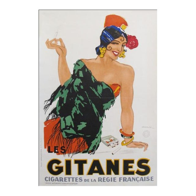 1931 French Art Deco Poster, Gitanes Cigarettes For Sale