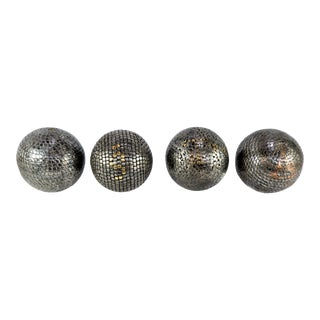 Antique French Petanque Nail Ball Boules on Glass Stands - Set of 4 For Sale