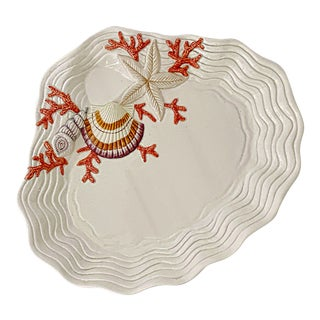 Vintage Fitz & Floyd Ceramic Sea Shell Oyster Charger Serving Platter For Sale