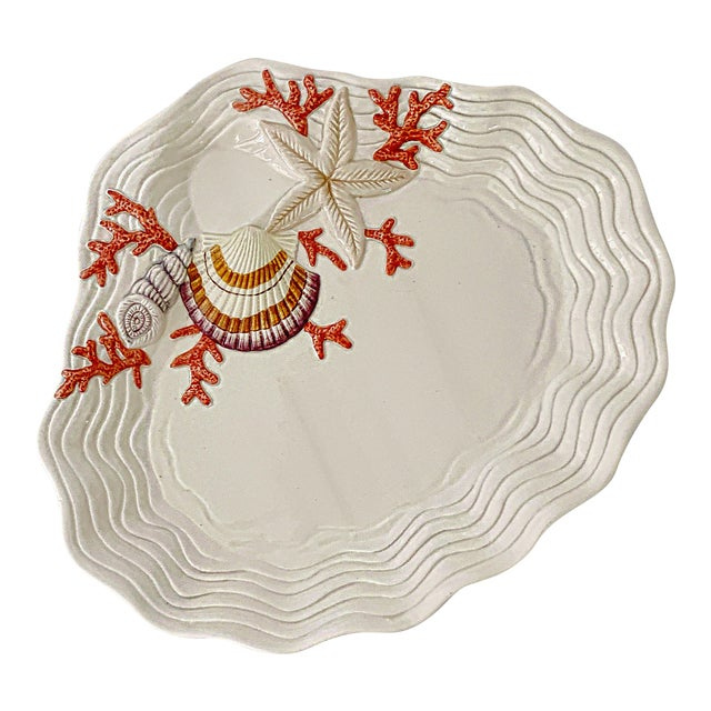Vintage Fitz & Floyd Ceramic Sea Shell Oyster Charger Serving Platter For Sale