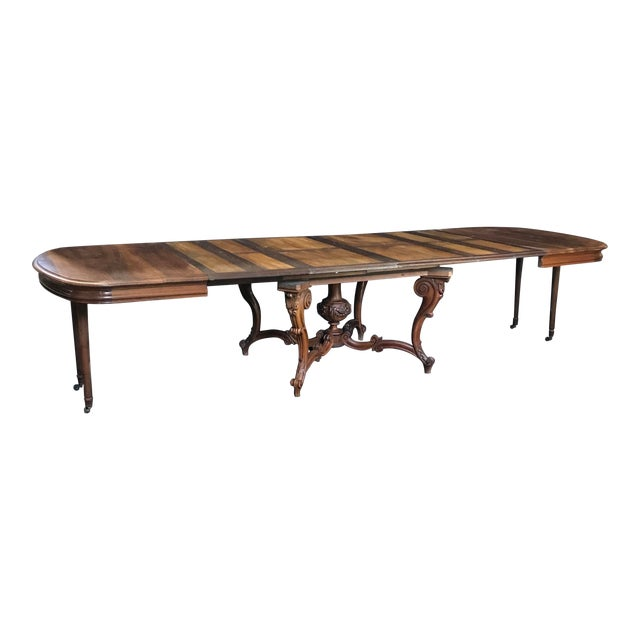 Mid 19th Century Carved Wood Baroque Walnut Dining Table For Sale