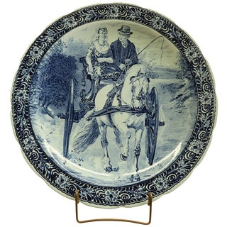Plate, Boch Blue Delft, Carriage For Sale