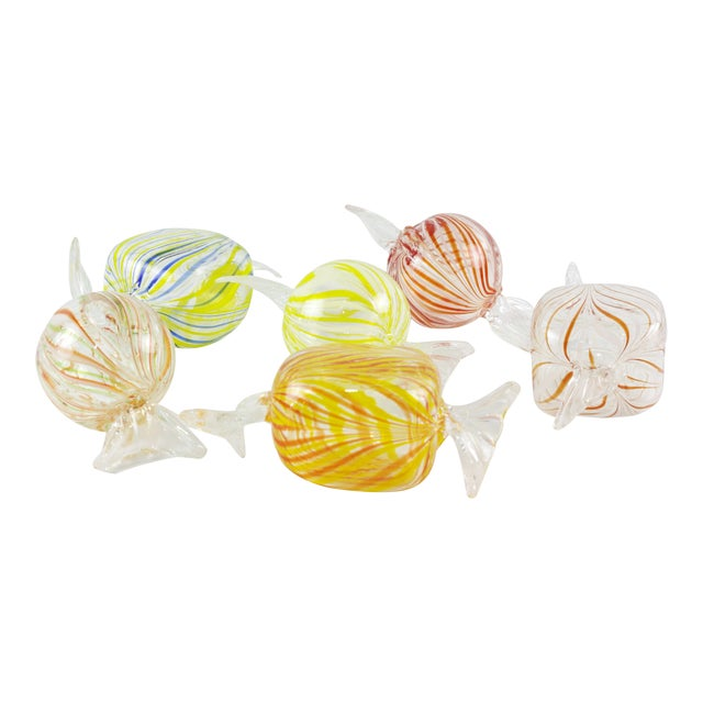 Murano Style Glass Candy Paperweights - Set of 6 For Sale