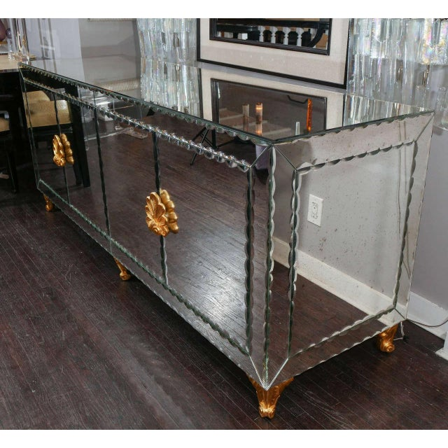 Gold Mirrored Buffet with Pie Crust Beveled Edges and Gold Leaf Hardware For Sale - Image 8 of 8