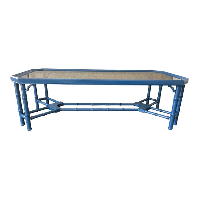 Vintage Chinoiserie Faux Bamboo Painted Coffee Table For Sale