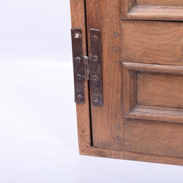 Large Arts and Crafts Rustic Farmhouse Wood Hanging Wall Cabinet Rustic Wall Cupboard For Sale In Philadelphia - Image 6 of 10