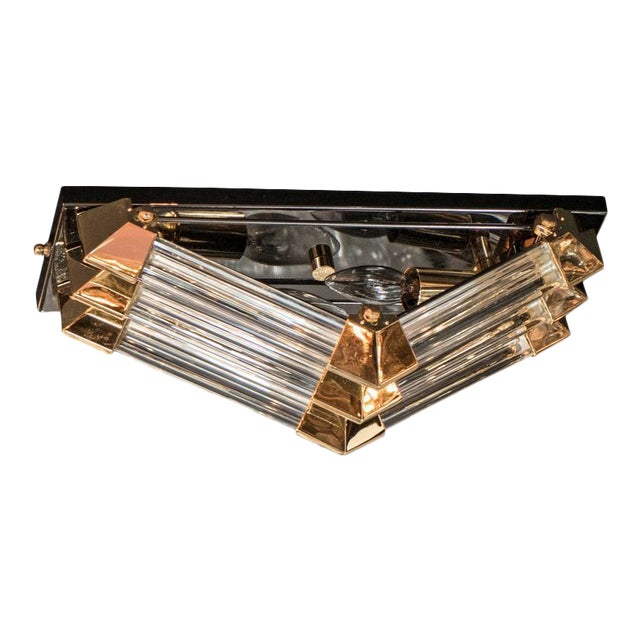 Mid-Century Brass, Gun Metal and Glass Rod Angular Flush Mount Chandelier For Sale