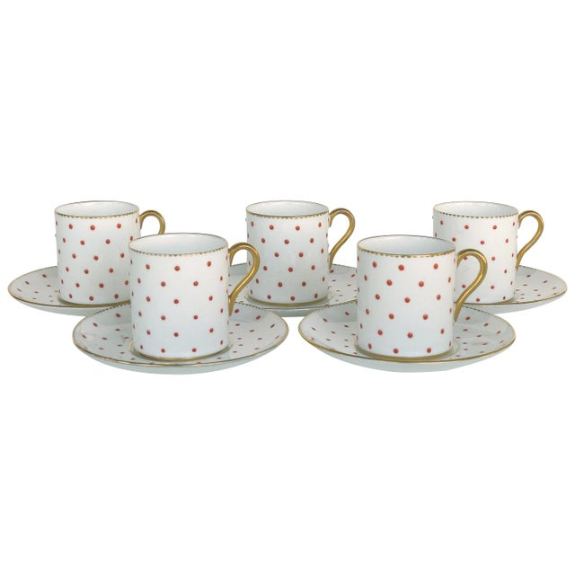 White Shelley England Bone China Enameled and Gilt Demitasse Cups and Saucers - 10 Pc. Set For Sale - Image 8 of 8