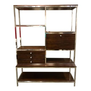 Modern Wood and Chrome Storage Etagere For Sale