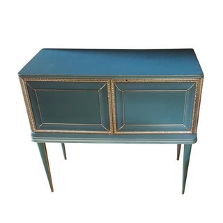 Vintage Mid-Century Turquoise and Gold Side Table For Sale