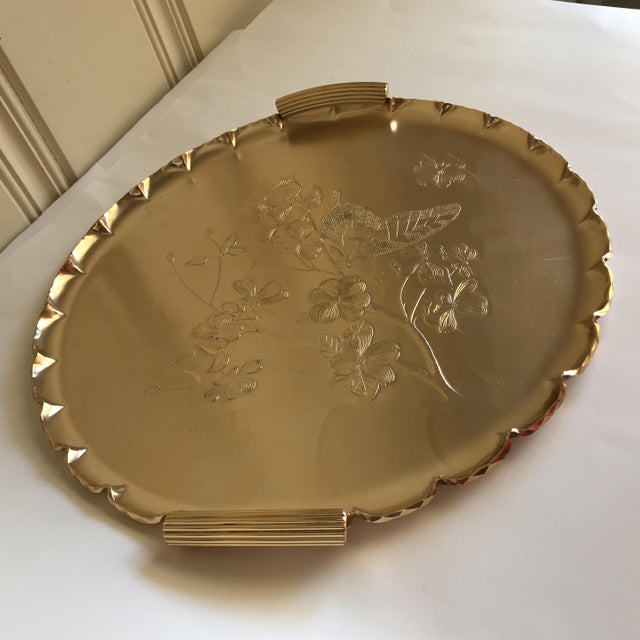 Pink 1990s Americana Rose-Gold Etched Serving and Decor Tray For Sale - Image 8 of 10