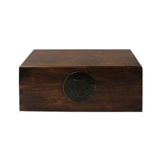 Chinese Brown Huali Rosewood Rectangular storage Box Chest