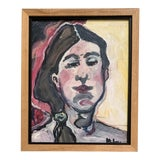 Image of Contemporary Framed Woman Portrait Painting For Sale