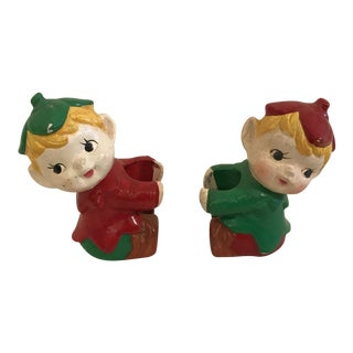 Mid-Century Elf Candle Holders - A Pair For Sale