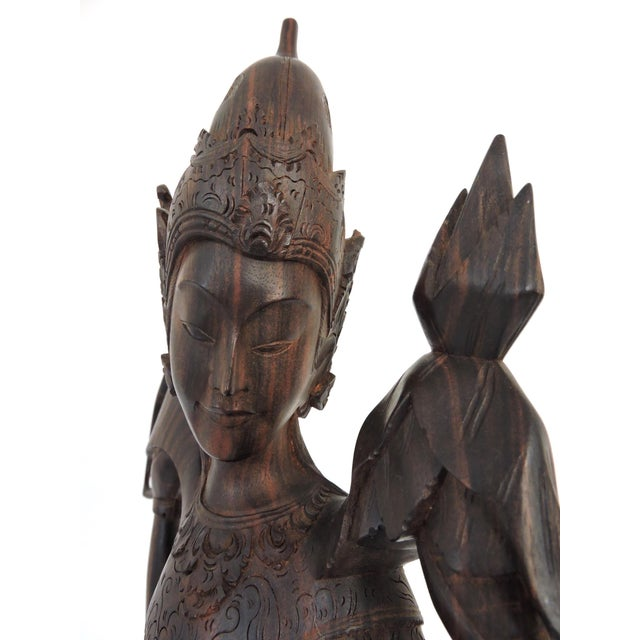 Asian Indonesian Rosewood Mother and Child With Ganesha, Asian/Oriental Carving For Sale - Image 3 of 8