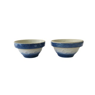 Vintage Blue and White Stoneware Pottery Small Bowl Set of 2