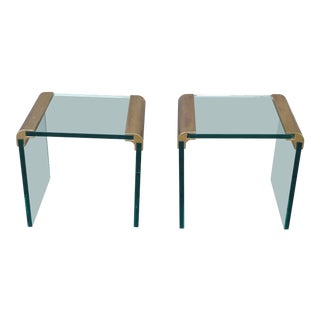 Pair Vintage Leon Rosen Pace Collection End Tables Glass & Brass Mid Century For Sale
