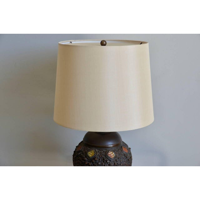 Heavy Tiffany Snake Basket Patinated Bronze Lamp With Custom Silk Shade For Sale In Los Angeles - Image 6 of 12
