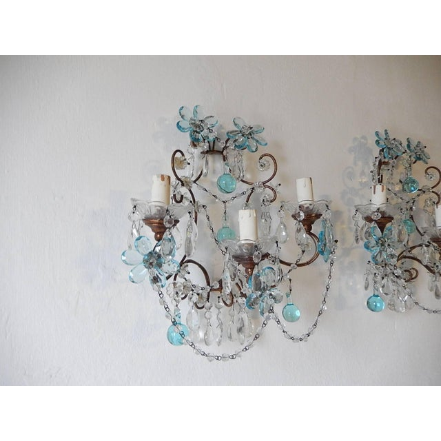 Turquoise French Maison Baguès Style Aqua Blue Floral Crystal Sconces, circa 1920 For Sale - Image 8 of 10