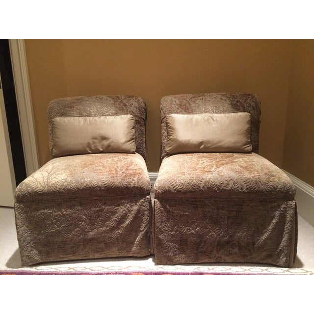 Velvet Damask Slipper Chairs - A Pair - Image 2 of 7