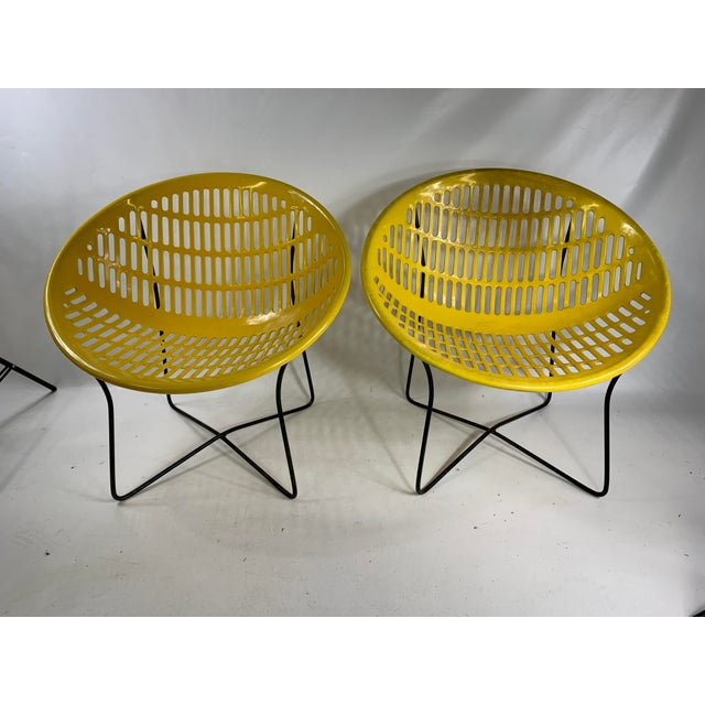 Mid Century Howard Johnson Hotel Yellow Solar Lounge Chairs. Both chairs are in great shape for there age. Plastic shows...