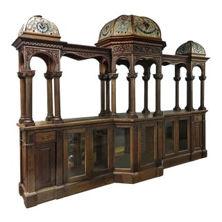 Late 19th Century Carved Oak Bar With Illuminated Stained Glass Dome Tops For Sale