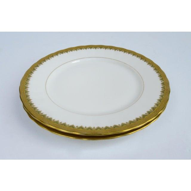 "C1930s French Art Deco Limoges ""Elite Works"" 24k Gilt Gold & Green Rimmed Asst. Dishes & Cups -Set of 11 For Sale - Image 10 of 13"