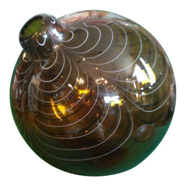 2004 Large Italian Alberto Dona Murano Hand Blown Swirled Art Glass Bottle Vase For Sale