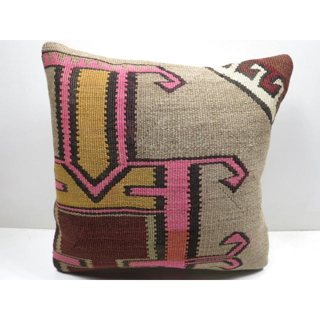 Yellow Vintage Turkish Kilim Throw Pillow For Sale - Image 8 of 8