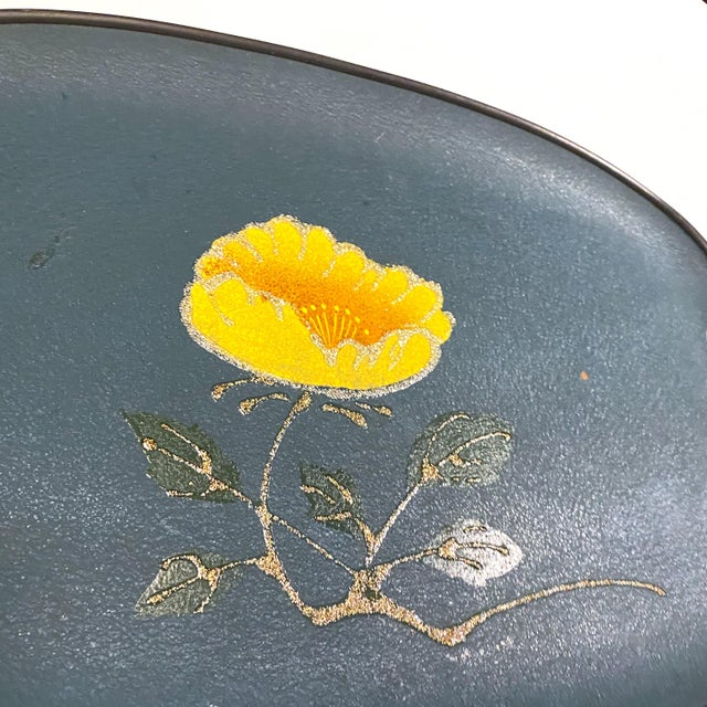 Mid-Century Modern Vintage Mid-Century Turquoise Fiberboard Large Oval Serving Tray For Sale - Image 3 of 8