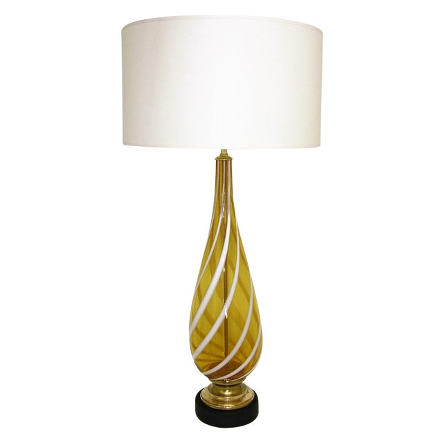 Italian Amber and White Striped Murano Glass Table Lamp Mid-Century Modern MCM For Sale