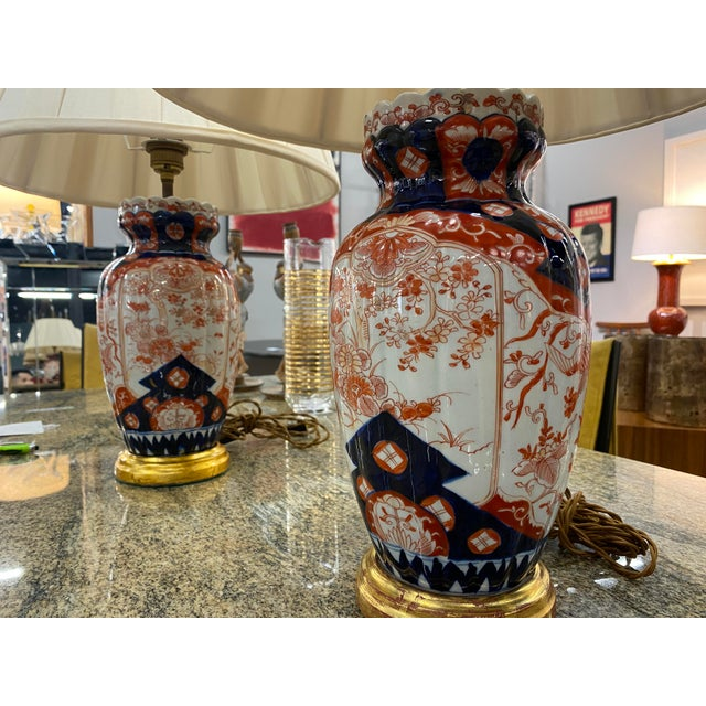 Antique Imari Lamps with Gilt Bronze Mounts - a Pair For Sale - Image 4 of 10